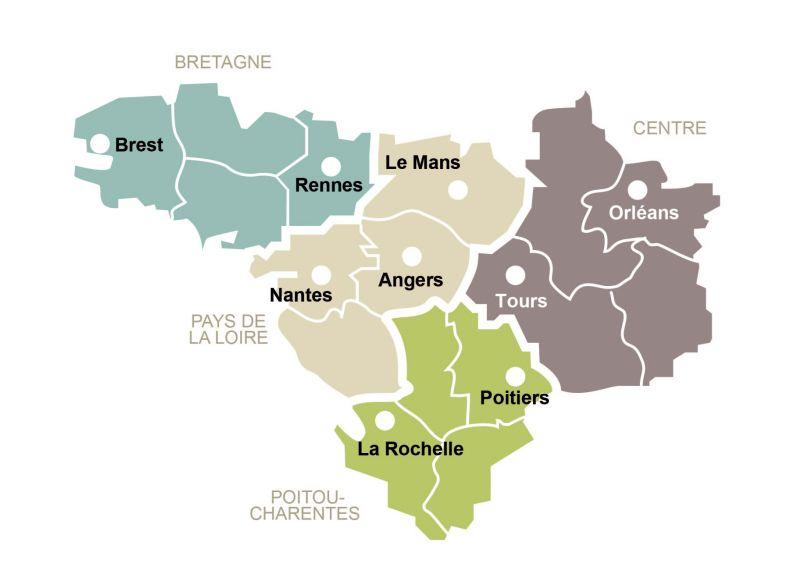 Carte Bretagne Pays De La Loire.History Canceropole Du Grand Ouest